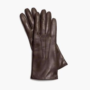Coach chocolate brown leather wool lined gloves
